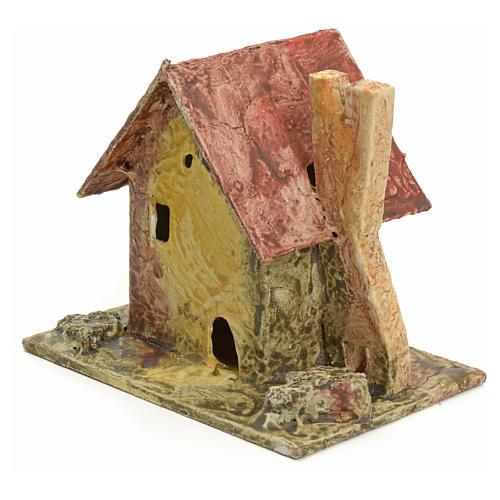 Casa con piccola torre per presepe legno stuccato 2