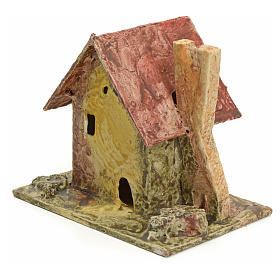 Nativity setting, house with small tower in stuccoed wood s2