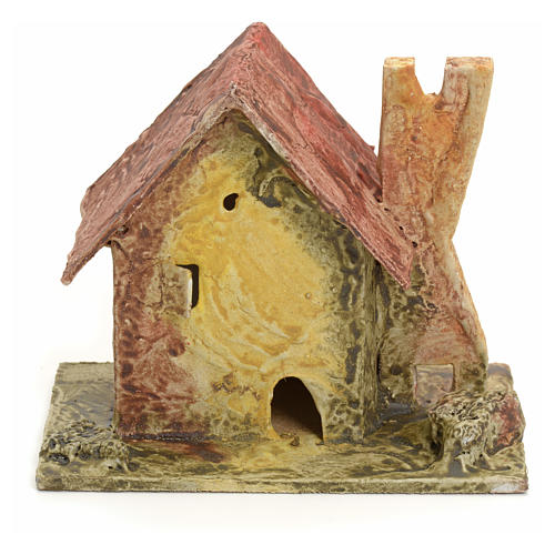 Nativity setting, house with small tower in stuccoed wood 1