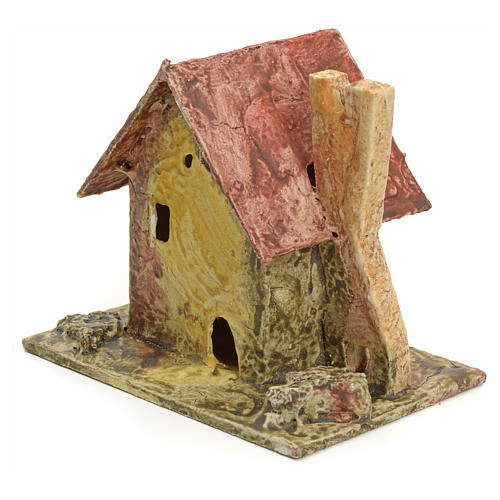 Nativity setting, house with small tower in stuccoed wood 2