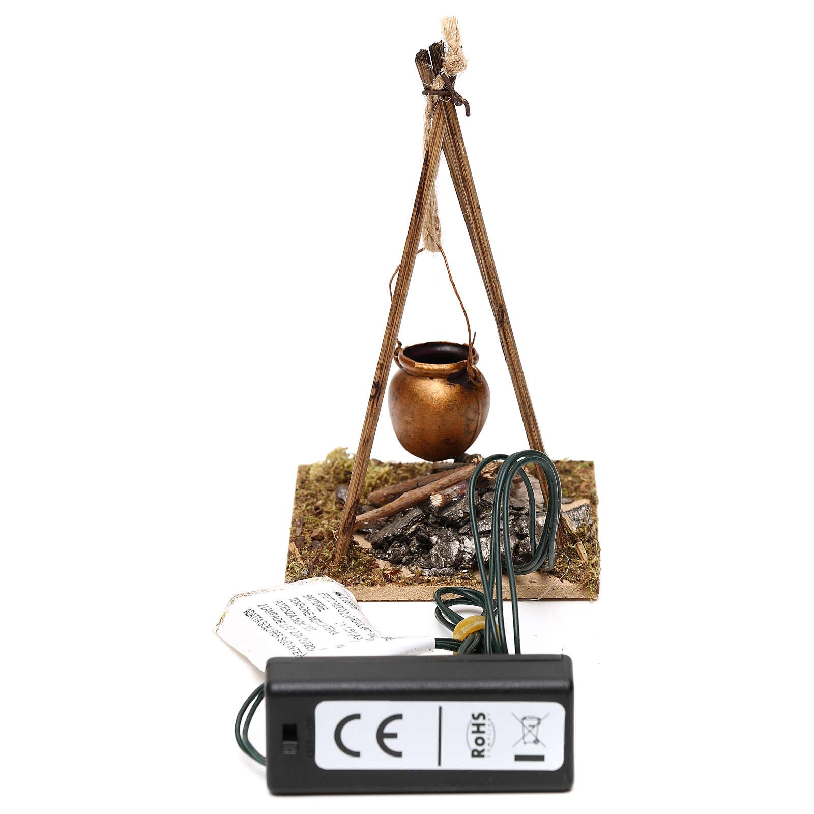 Feu de bois en miniature 2 leds tremblants 10x6.5x7 cm 4