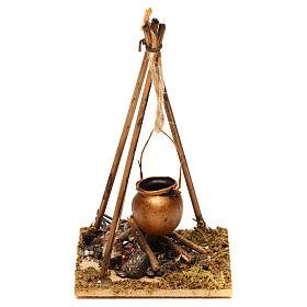 Fours et feux crèche: Feu de bois en miniature 2 leds tremblants 10x6.5x7 cm