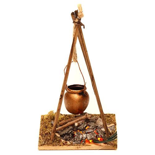 Feu de bois en miniature 2 leds tremblants 10x6.5x7 cm 2