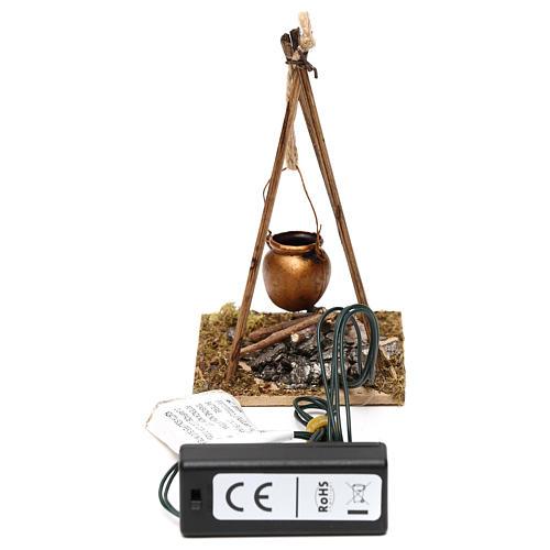 Feu de bois en miniature 2 leds tremblants 10x6.5x7 cm 3