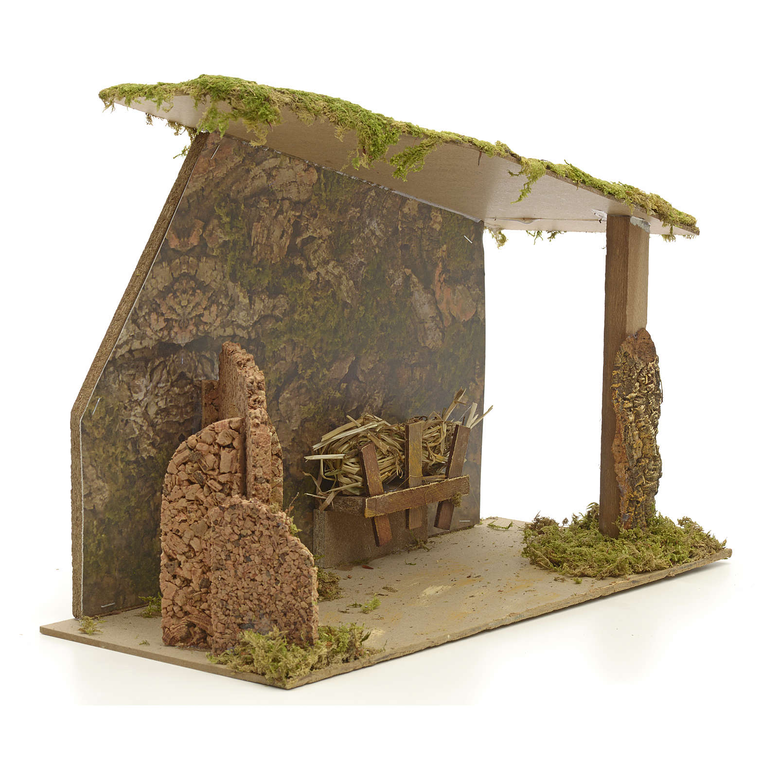 Nativity stable in cork with arch and rocks 31x42x20cm 4