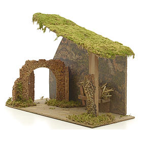Nativity stable in cork with arch and rocks 31x42x20cm s3
