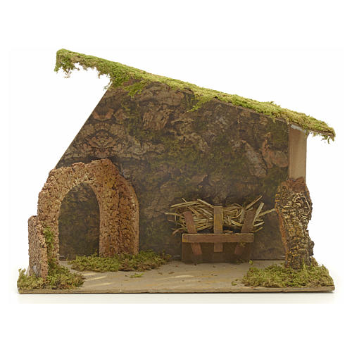 Nativity stable in cork with arch and rocks 31x42x20cm 1
