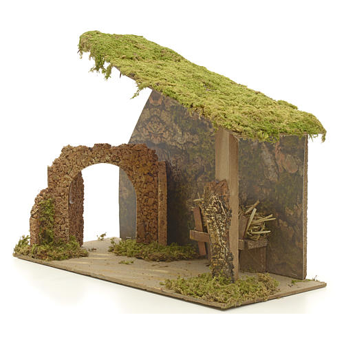 Nativity stable in cork with arch and rocks 31x42x20cm 3
