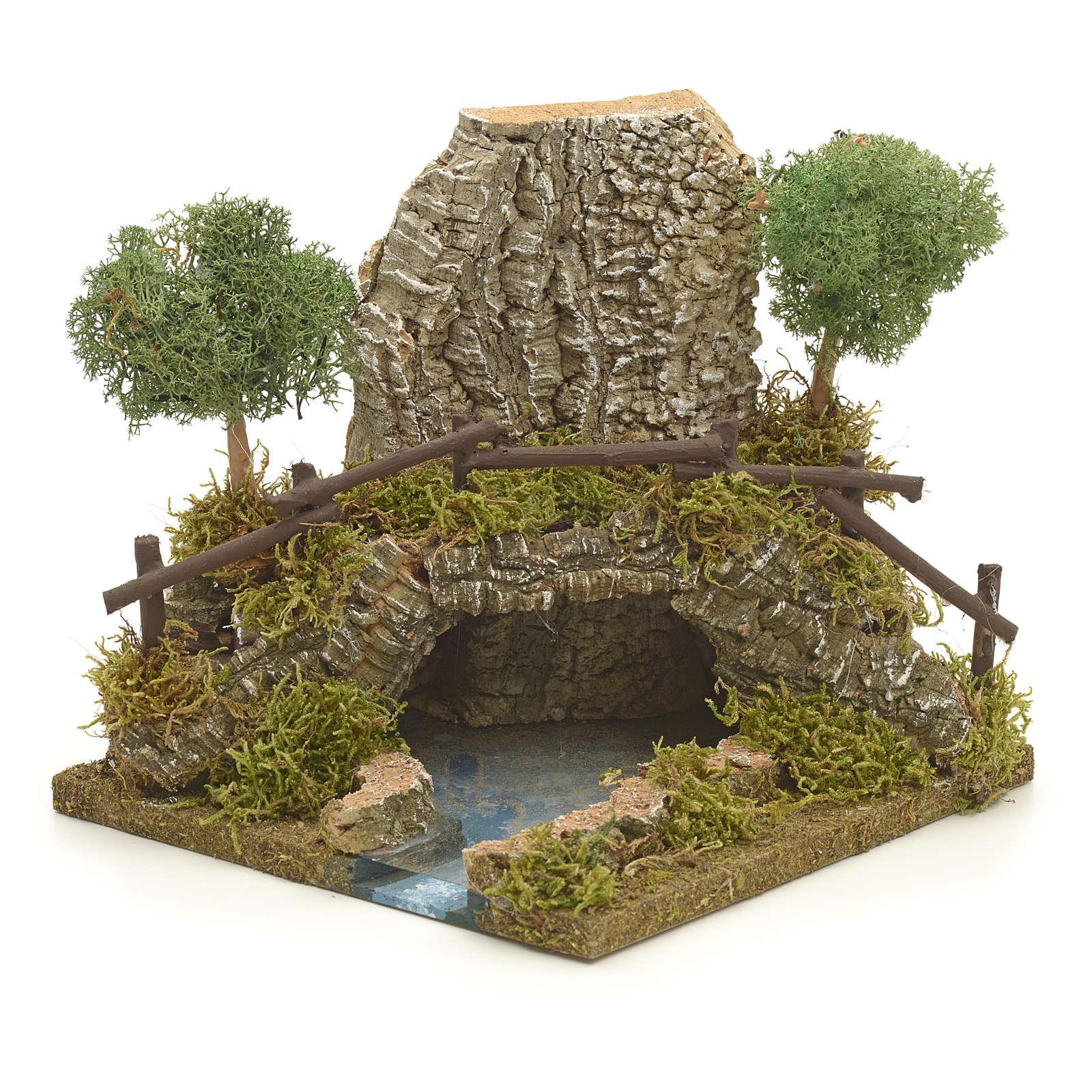 Nativity setting, bridge on lake 20x20x20cm 4