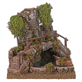 Nativity setting, bridge on lake 20x20x20cm s1