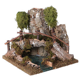 Nativity setting, bridge on lake 20x20x20cm s2