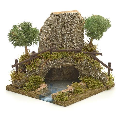 Nativity setting, bridge on lake 20x20x20cm 1