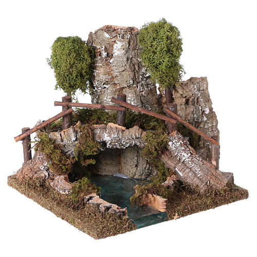 Nativity setting, bridge on lake 20x20x20cm 2