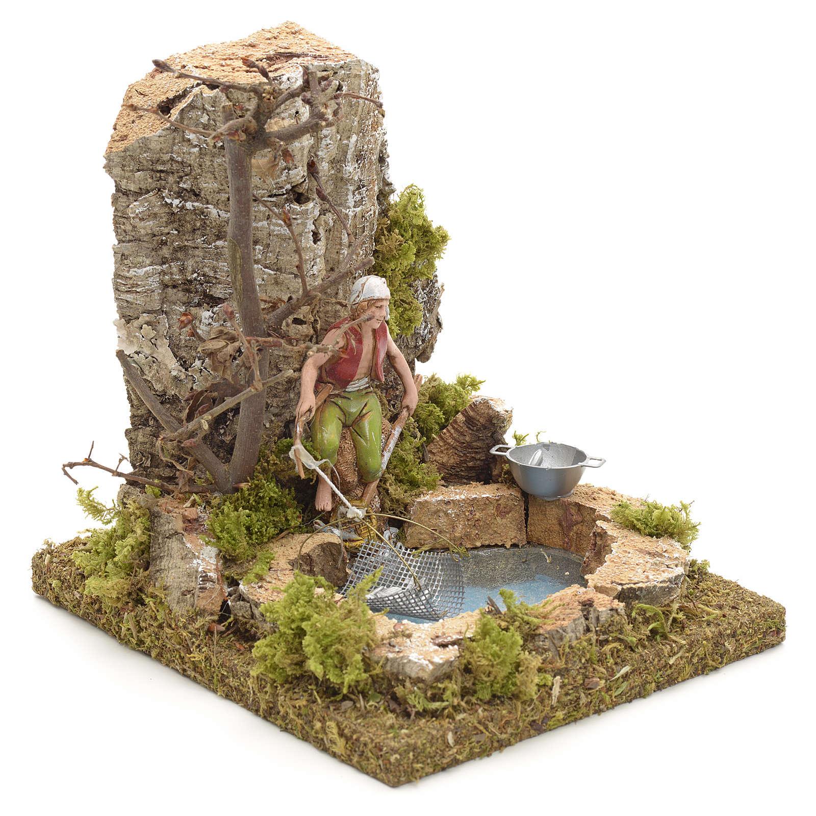 Pescador no lago com rede cenário presépio 4
