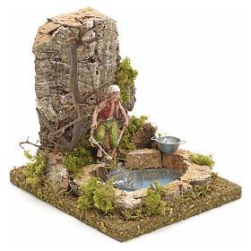 Pescador no lago com rede cenário presépio s3