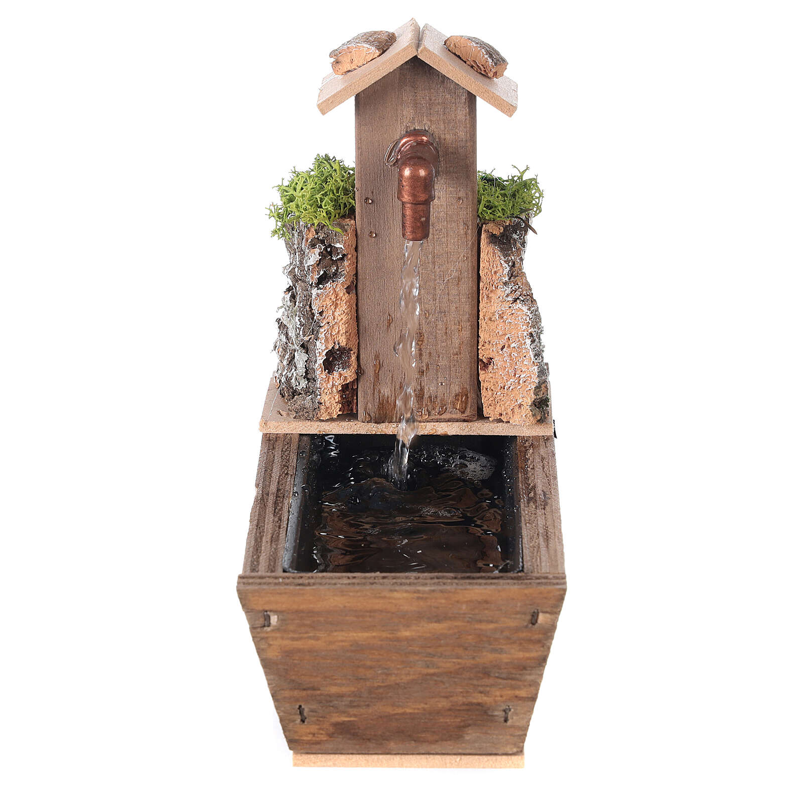 Nativity fountain with drinking trough 16x10x16cm 4