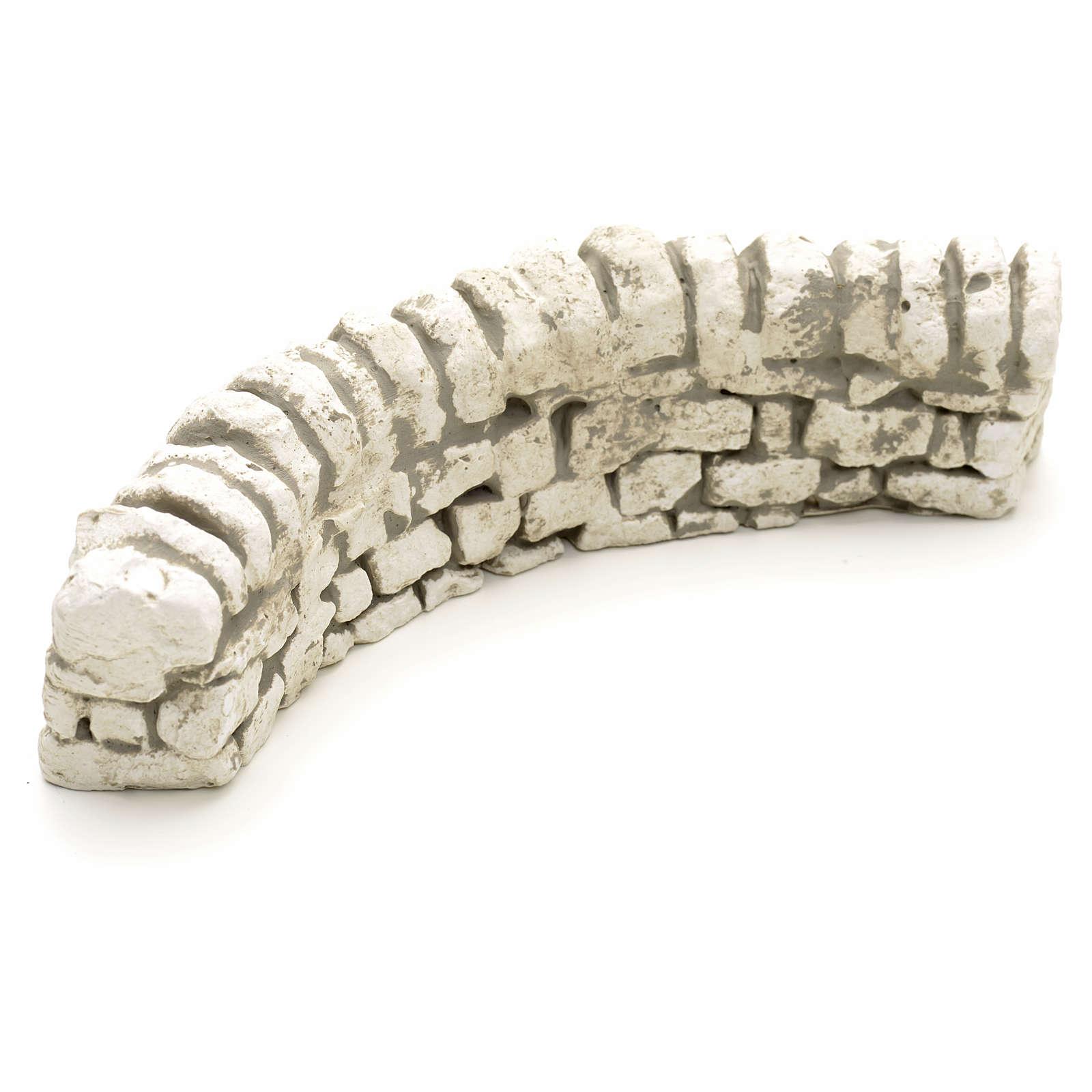 Nativity setting, plaster low brick wall 6x17x5cm 4