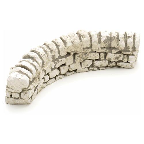 Nativity setting, plaster low brick wall 6x17x5cm 2