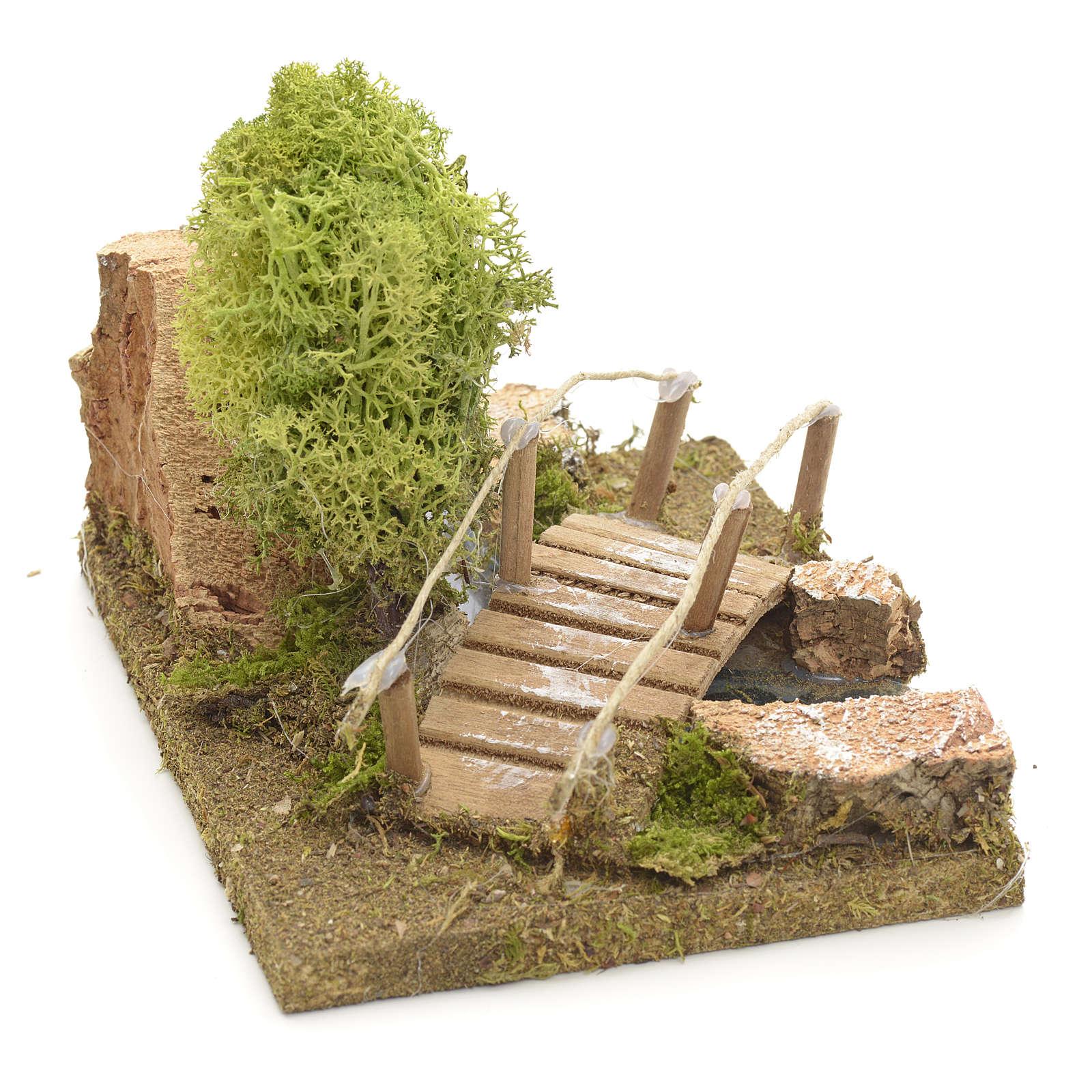 Nativity setting, bridge with lichen and cork rocks 4