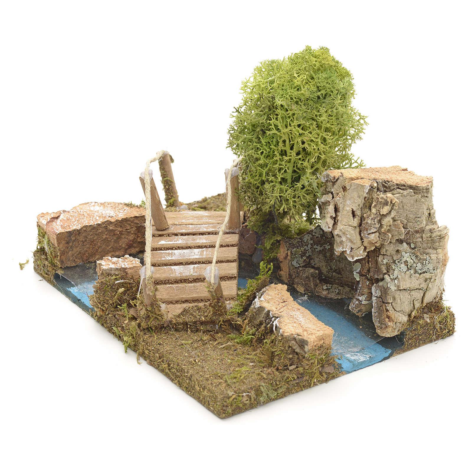 Pont en miniature avec lichen et roche en liège 4