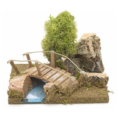 Pont en miniature avec lichen et roche en liège 1