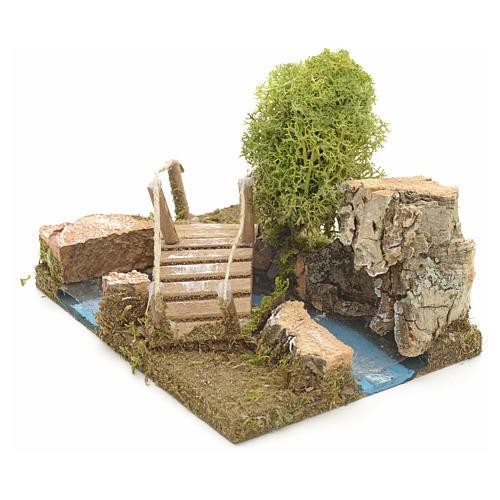 Pont en miniature avec lichen et roche en liège 2