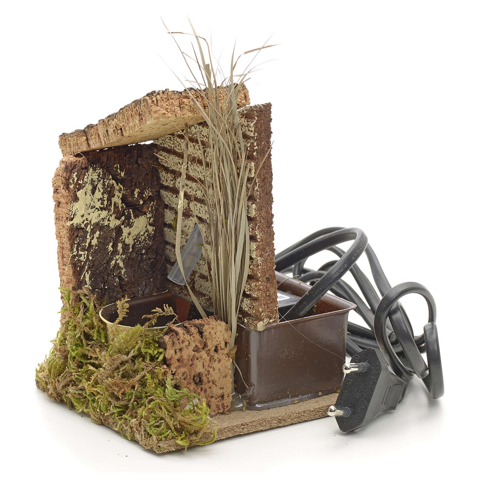 Fonte presépio madeira cortiça musgo 13x10x9 cm 4
