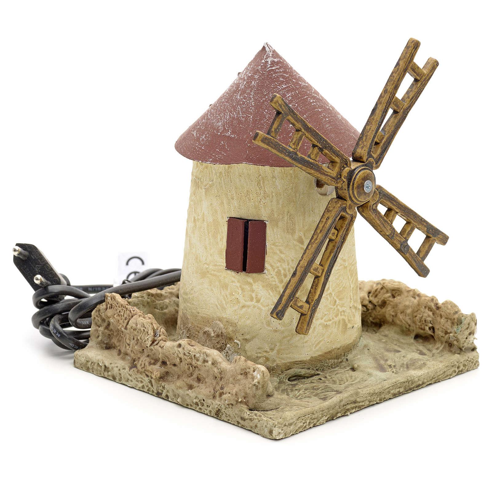 Nativity wind mill with stucco 15x14x14cm 4