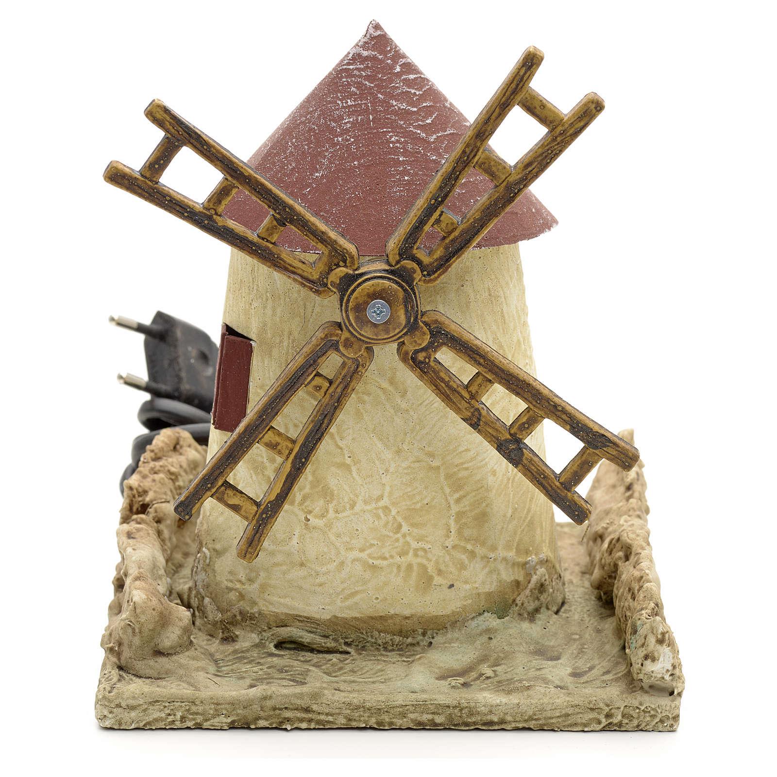 Mulino a vento in legno stuccato per presepe 15x14x14 4