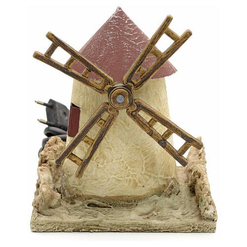 Mulino a vento in legno stuccato per presepe 15x14x14 1