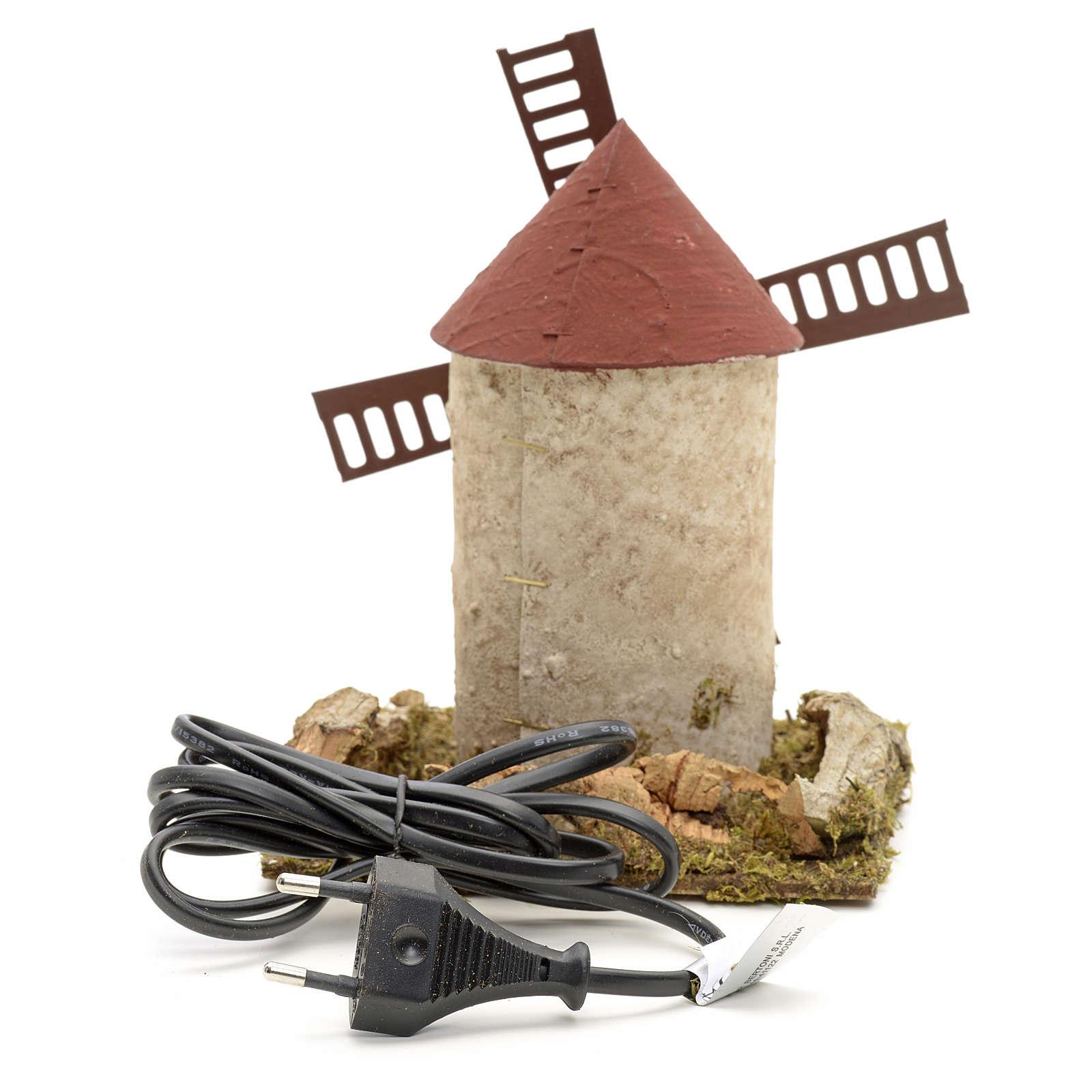 Moulin à vent en bois pour crèche 15x14x14 cm 4