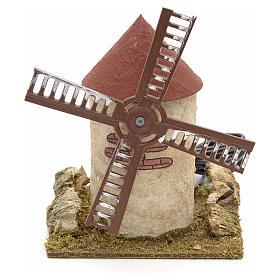 Moulin à vent en bois pour crèche 15x14x14 cm s1