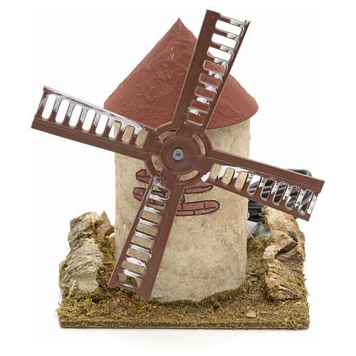 Moulin à vent en bois pour crèche 15x14x14 cm 1