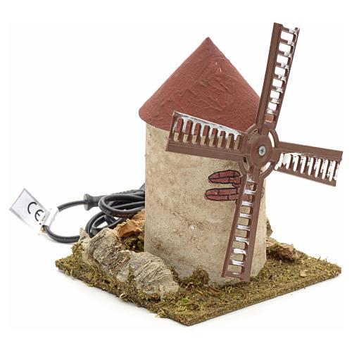 Moulin à vent en bois pour crèche 15x14x14 cm 2