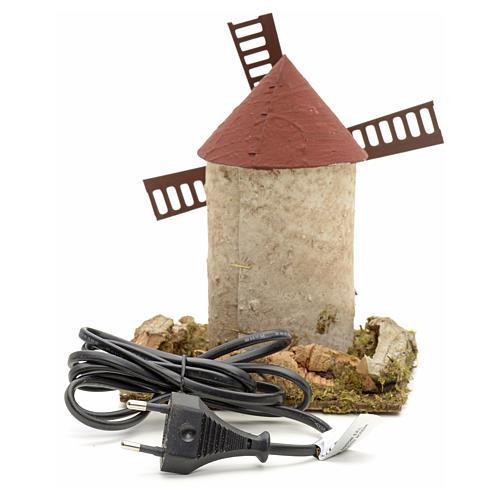 Moulin à vent en bois pour crèche 15x14x14 cm 3