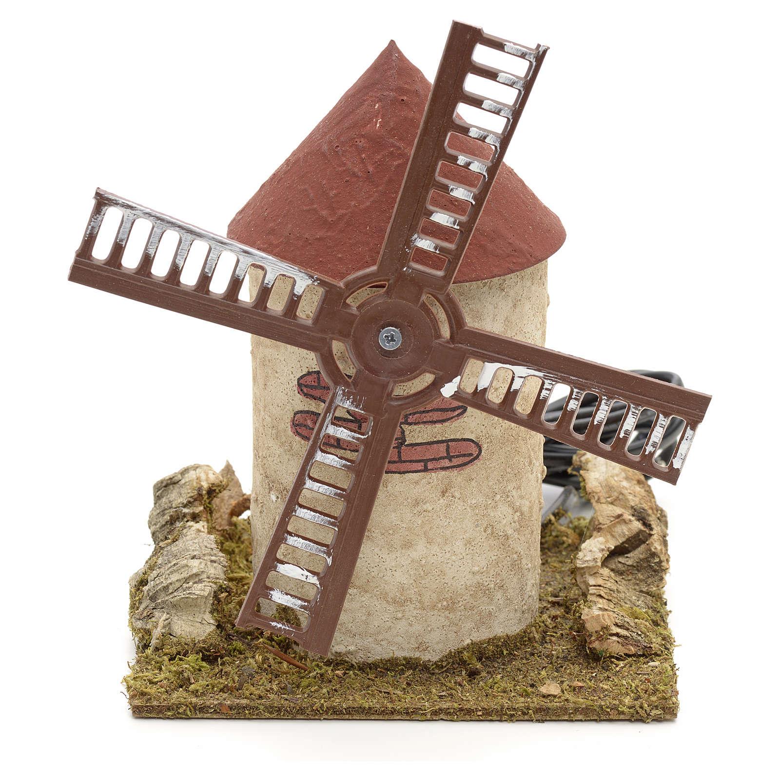 Mulino a vento in legno per presepe 15x14x14 4