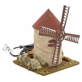 Moinho de vento em madeira para presépio 15x14x14 cm s2