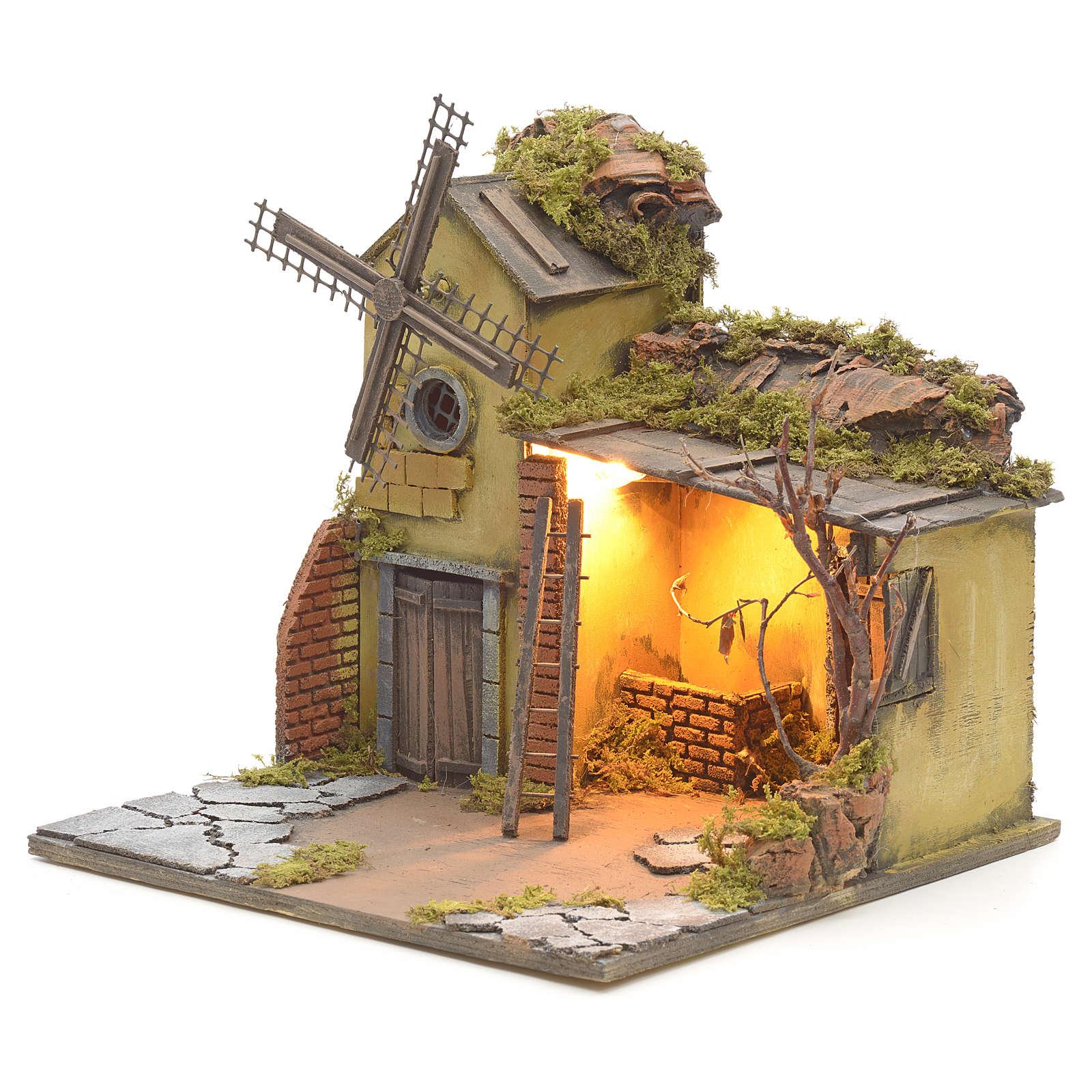 Casa iluminada y molino de viento pesebre Nápoles 30X40X30 4