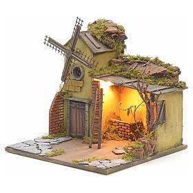 Casa iluminada y molino de viento pesebre Nápoles 30X40X30 s3