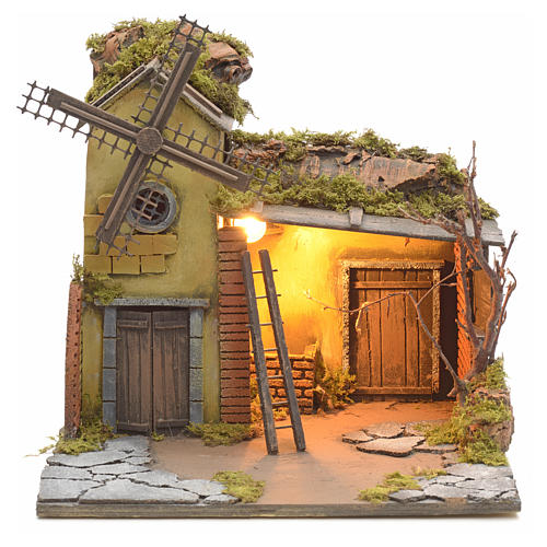 Casa iluminada y molino de viento pesebre Nápoles 30X40X30 1