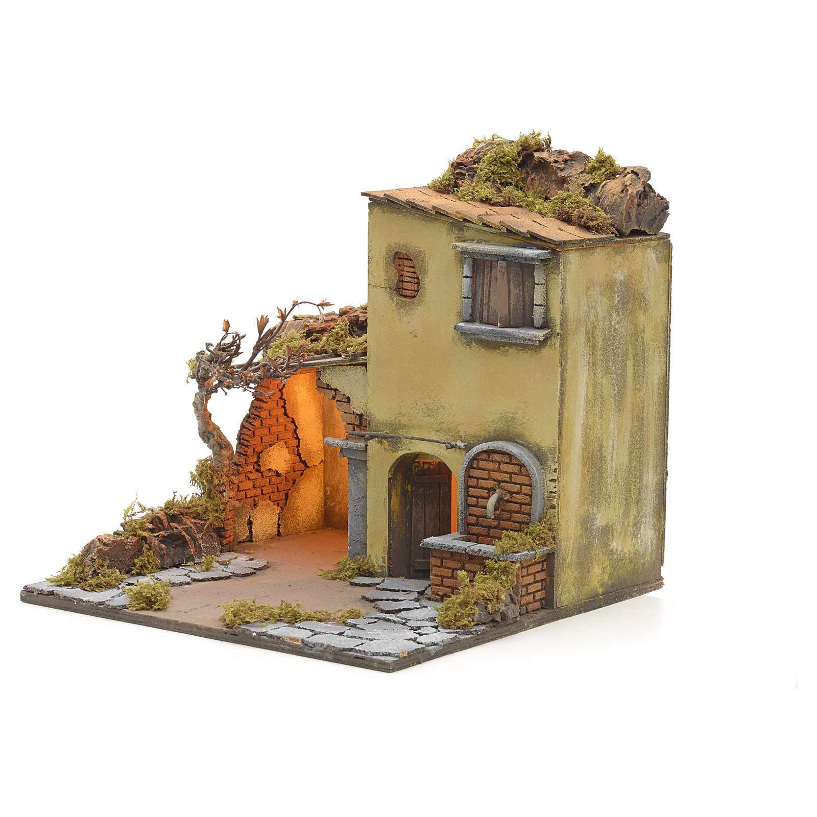 Borgo illuminato con stalla e fontana presepe Napoli 40x40x40 4
