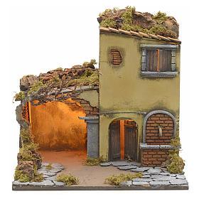 Borgo illuminato con stalla e fontana presepe Napoli 40x40x40 s1