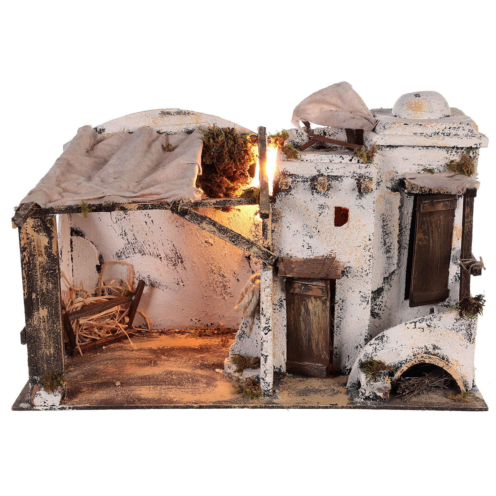 Casa palestina iluminada para Pesebre Napolitano 10 cm 4