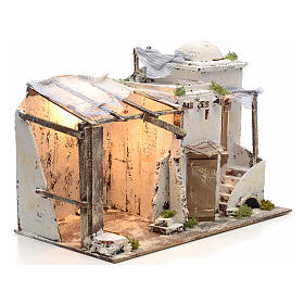 Casa palestina iluminada para Pesebre Napolitano 10 cm s2
