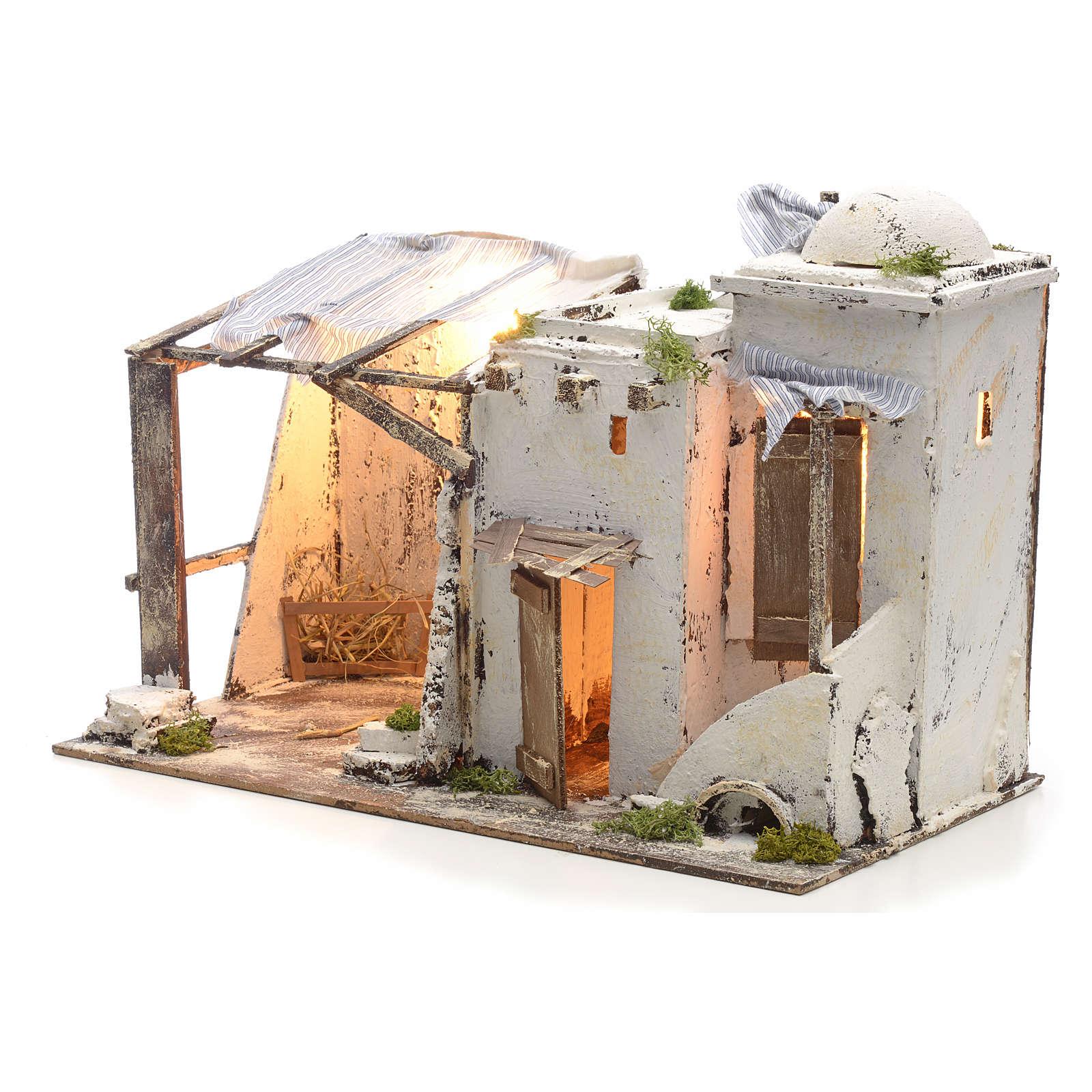 Casa palestinese illuminata per Presepe Napoletano 10 cm 4