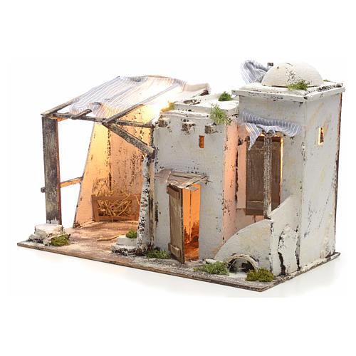 Casa palestinese illuminata per Presepe Napoletano 10 cm 3