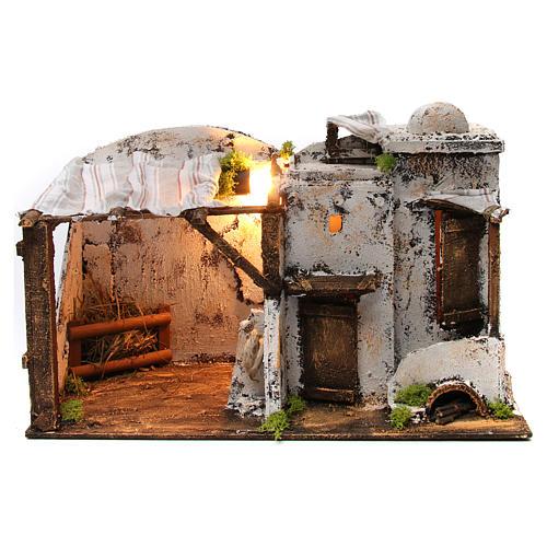 Casa palestinese illuminata per Presepe Napoletano 10 cm 1