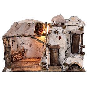 Presépio Napolitano: Casa palestiniana iluminada para presépio Nápoles 10 cm