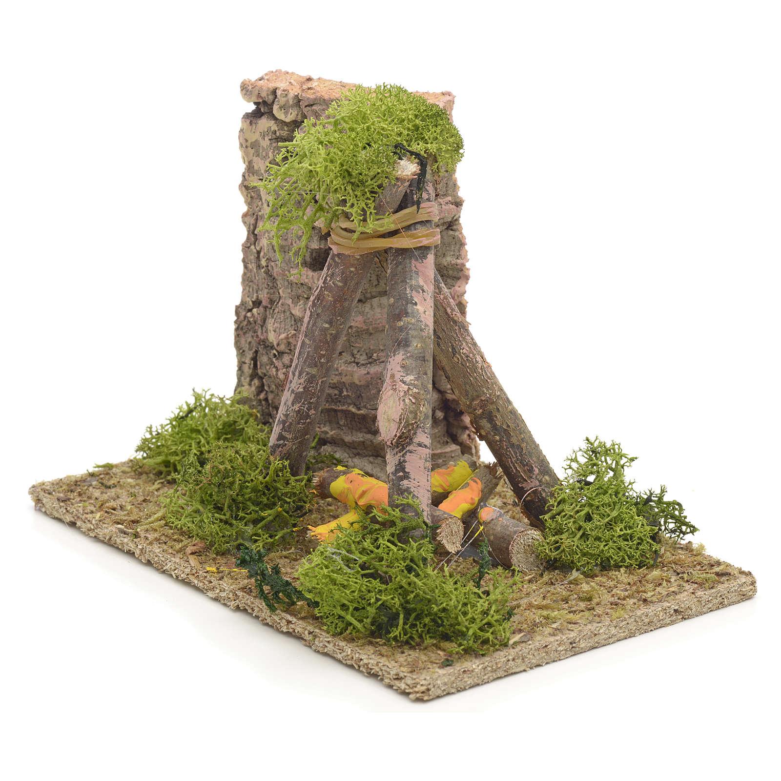 Décor crèche puits en bois 9x14x9 4