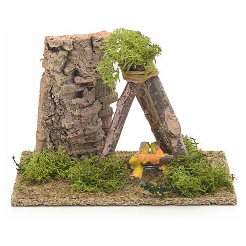 Décor crèche puits en bois 9x14x9 1
